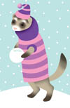 Ferret with snowball